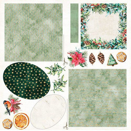 Craft&You Christmas Vibes Sheet elements to be cut out 12X12 CP-CV09 (09-19)