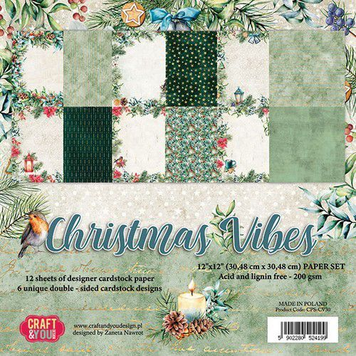 Craft&You Christmas Vibes BIG Paper Set 12x12 12 vel CPS-CV30 (09-19)