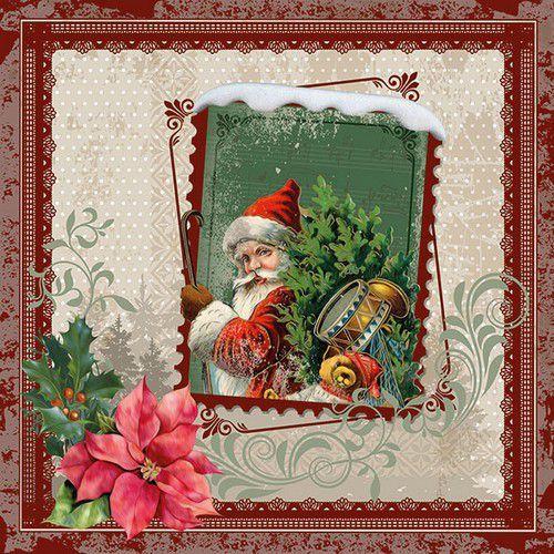 CraftEmotions servetten 5st - Kerstman op postzegel 33x33cm Ambiente 33313450 (08-19)