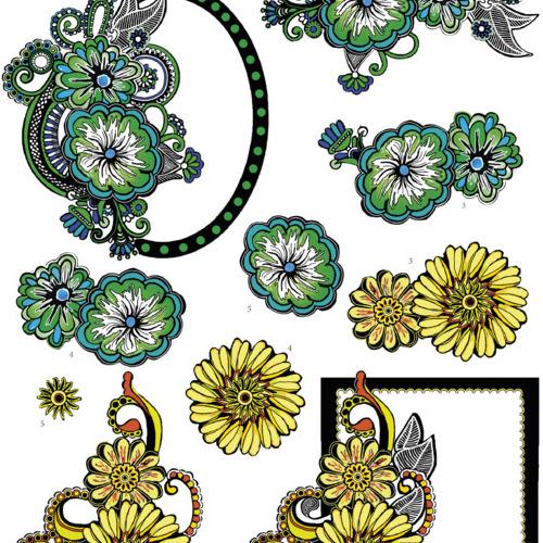 Yvon's Art-Greenand Yellow Swirls