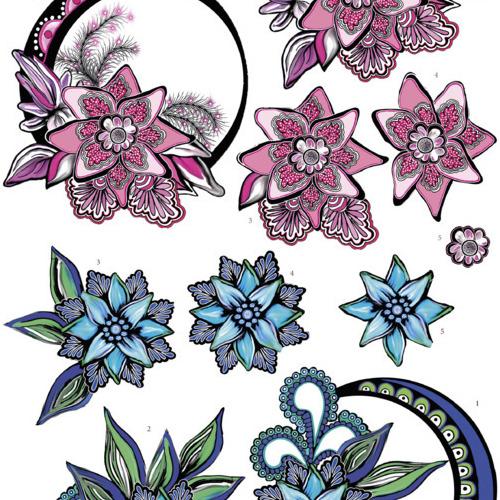 Yvon's Art - Blue and Pink Swirls
