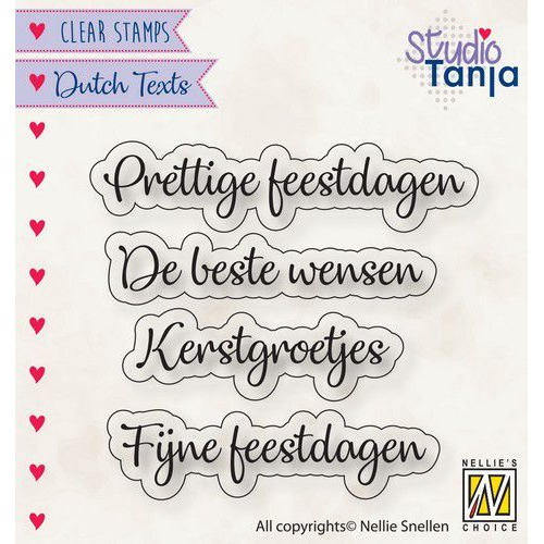 Nellies Choice Clearstempel Tekst (NL) - Prettige Feestdagen etc.. DTCS025 40x10 - 56x9,9mm (10-19)