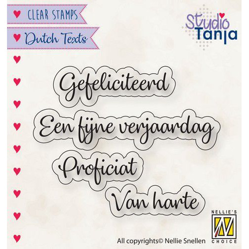 Nellies Choice Clearstempel Tekst (NL) - Proficiat etc.. DTCS027 27x9,7 -60x9mm (10-19)