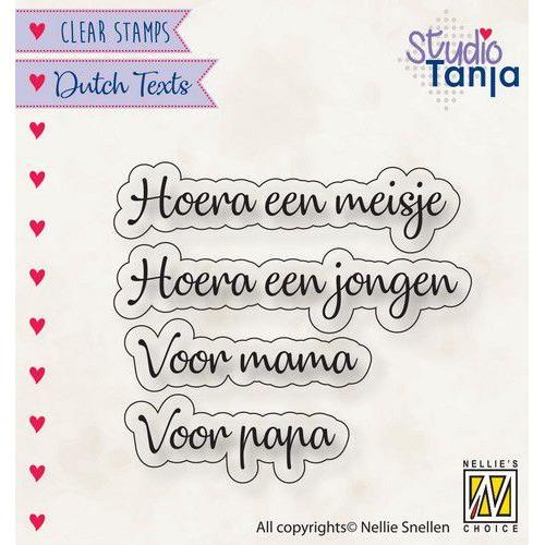 Nellies Choice Clearstempel Tekst (NL) - Hoera een meisje.. DTCS028 31x9,6 - 51x9,9mm (10-19)
