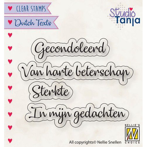 Nellies Choice Clearstempel Tekst (NL) - Gecondoleerd etc.. DTCS029 21x7,5 - 62x9,6mm (10-19)