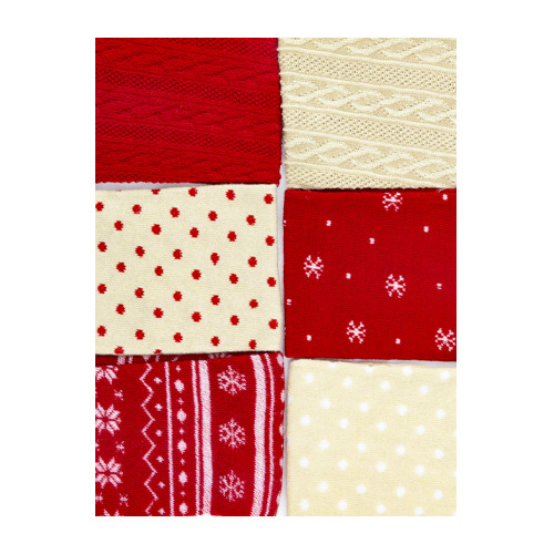 Set cotton tube, christmas red/beige
