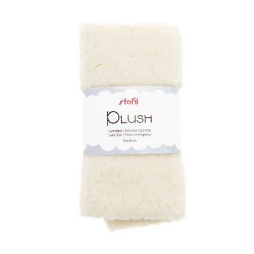 Plush, lamsvel wit, 100% polyester