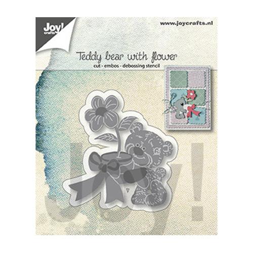 Teddybeer met bloem