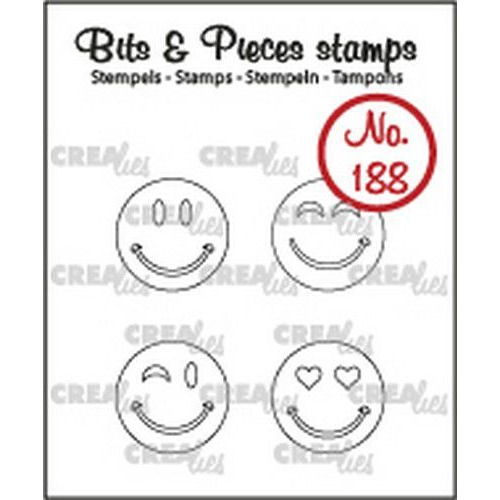 Crealies Clearstamp Bits & Pieces Happy faces outline CLBP188 4x15mm (10-19)