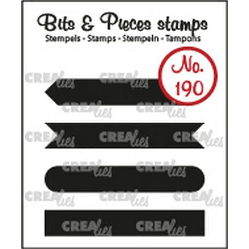 Crealies Clearstamp Bits & Pieces Tekst Strips set A dicht CLBP190 4x7x43mm (10-19)