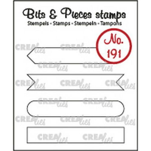 Crealies Clearstamp Bits & Pieces Tekst Strips set A omlijning CLBP191 4x7x43mm (10-19)