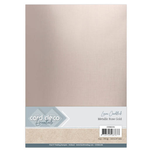 Card Deco Essentials - Metallic Linnenkarton - Metallic Rose Gold