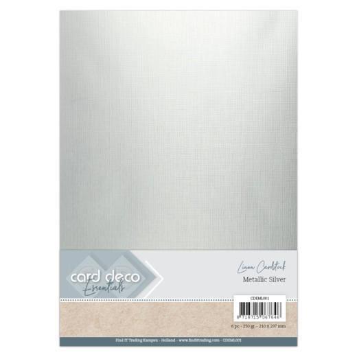 Card Deco Essentials - Metallic Linnenkarton - Metallic Silver