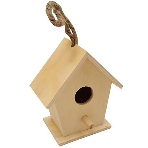 Houten vogelhuisje vierkant klein 10,2cm x 7cm x 11,4cm