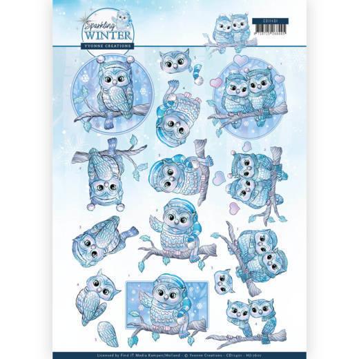 3D Knipvel - Yvonne Creations - Sparkling Winter - Winter Owls