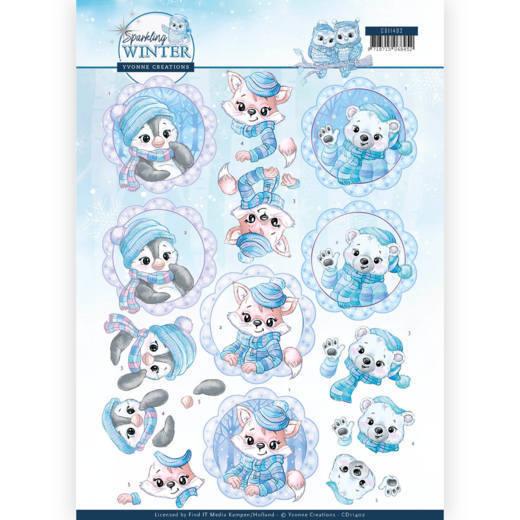 3D Knipvel - Yvonne Creations - Sparkling Winter - Winter Friends