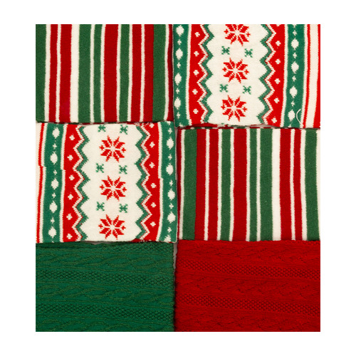 Set cotton tube, red/dark green/white