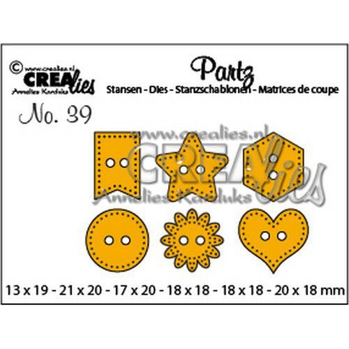 Crealies Partz no. 39 6x knoopjes CLPartz39 max. 20x18mm (11-19)
