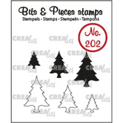 Crealies Clearstamp Bits&Pieces Boompjes (dicht en omlijning) CLBP202 max. 14x20mm (11-19)