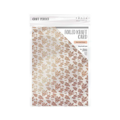 Tonic Studios Craft P. Foiled K.Card - Rose Gold Posies 5 vl 9349E A4 280GR (11-19)