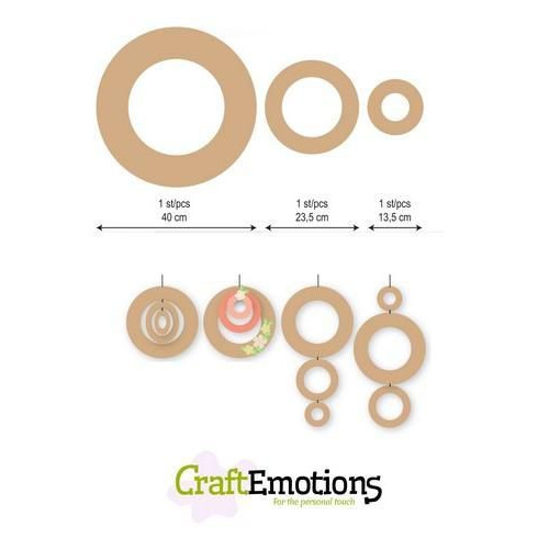 CraftEmotions MDF 3 ringen 40 - 23,5 - 13,5cm x 6mm