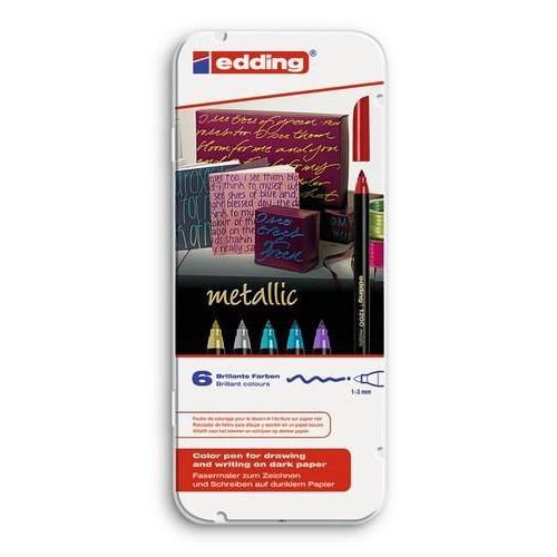 edding-1200 ass. metallic teken/kleur stift  6ST 1-3 mm / 4-1200-6