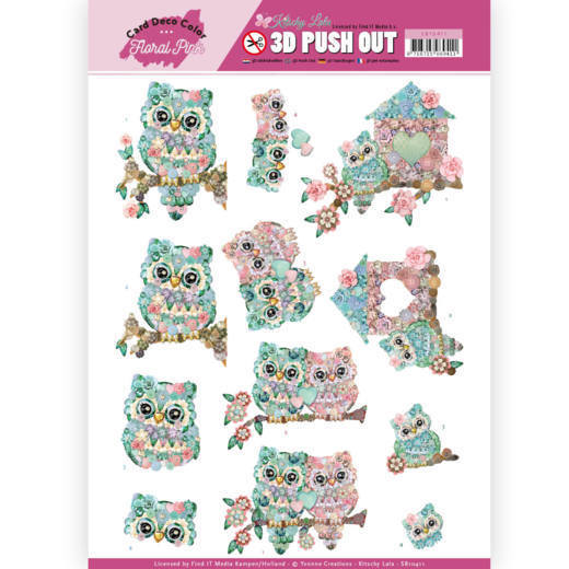 3D Pushout - Yvonne Creations - Floral Pink (Kitschy Lala) - Kitschy Owls