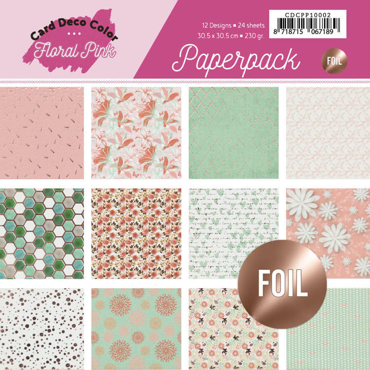 Foiled Paperpack 30,5 x 30,5 - Yvonne Creations - Floral Pink