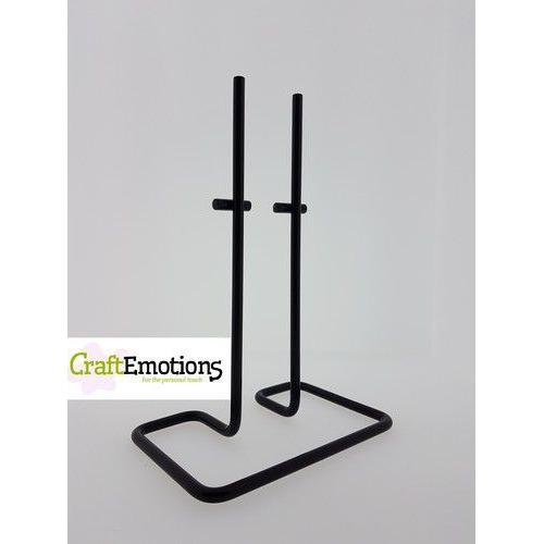 Decoratie standaard metaal rechthoek dubbele pen voor o.a. Styropor black 12x18cm - 26cm (11-19)