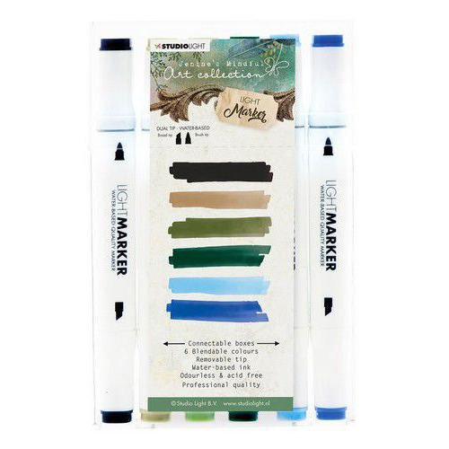 Studio Light Box 6 water based dual tip markers Jenine's Mindful Art MARKERJMA01 (12-19)