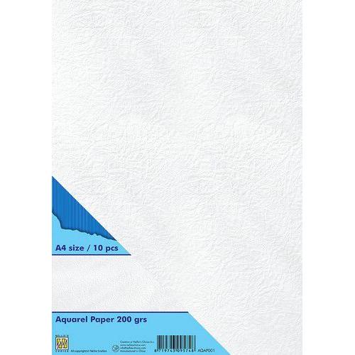 Nellie's Choice Watercolor papier gladde structuur 10 vl AQAP001 A4 200gr (11-19)