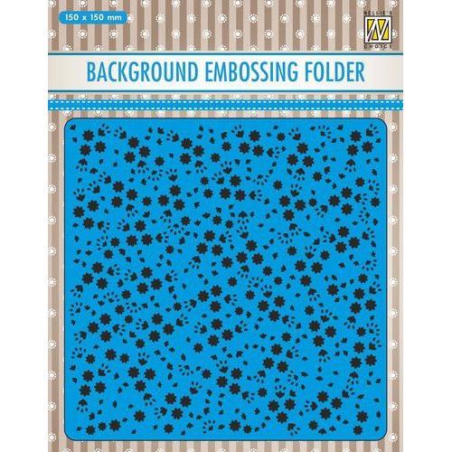 Nellies Choice Emb.folder Achtergrond bloemen EEB026 150x150mm (11-19)