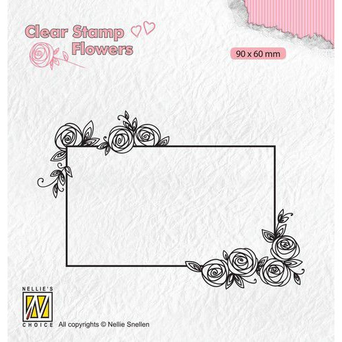 Nellie's Choice Clear stamps Flowers rechthoekig frame met rozen FLO019 90x60mm (11-19)