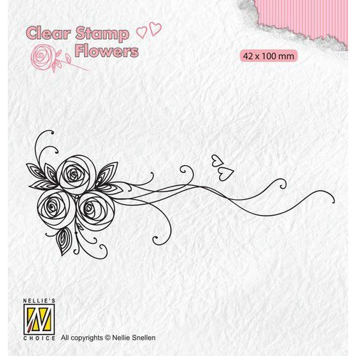Nellie's Choice Clear stamps Flowers Boeket rozen-1 FLO020 42x100mm (11-19)