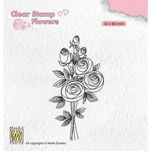 Nellie's Choice Clear stamps Flowers Boeket rozen-2 FLO021 42x80mm (11-19)