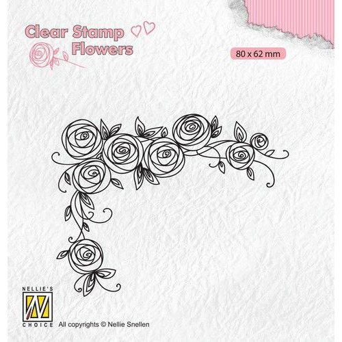 Nellie's Choice Clear stamps Flowers Rozen hoek FLO022 80x62mm (11-19)