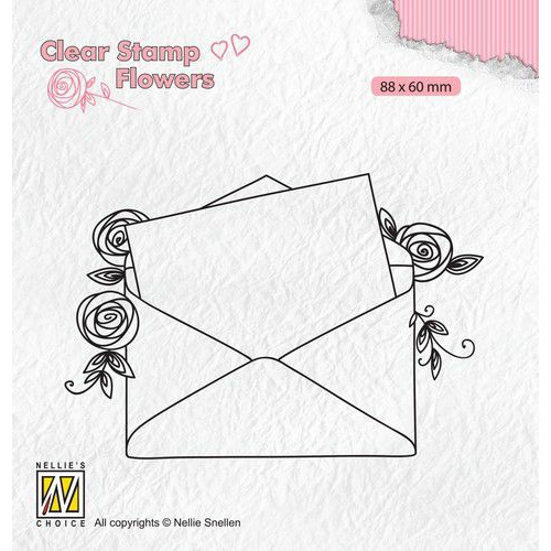 Nellie's Choice Clear stamps Flowers Love letter FLO023 88x60mm (11-19)