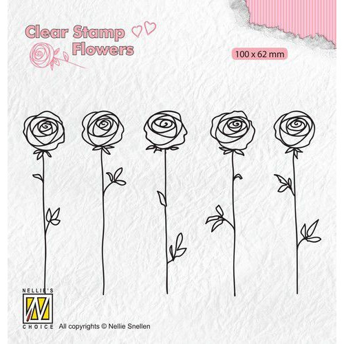 Nellie's Choice Clear stamps Flowers - rozen FLO025 100x62mm (11-19)