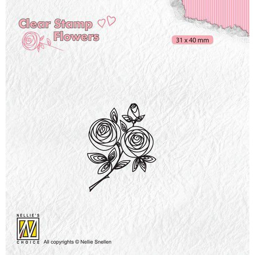 Nellie's Choice Clear stamps Flowers rozentak FLO026 31x40mm (11-19)