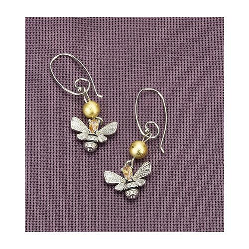Earrings queen bee & gold bead, organza bag