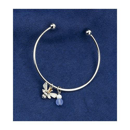 Bracelet, queen bee & blue bead, organza bag
