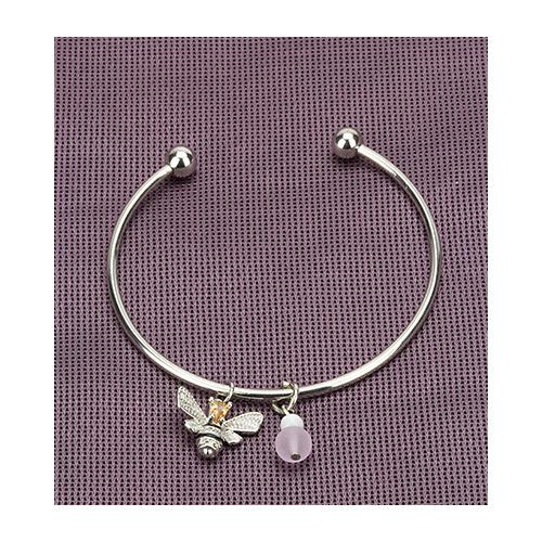 Bracelet, queen bee & pink bead, organza bag