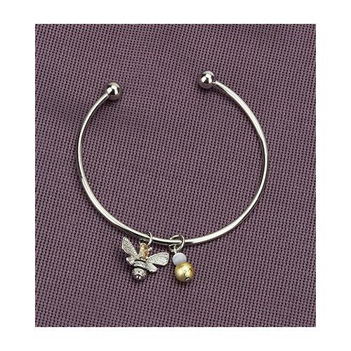Bracelet, queen bee & gold bead, organza bag