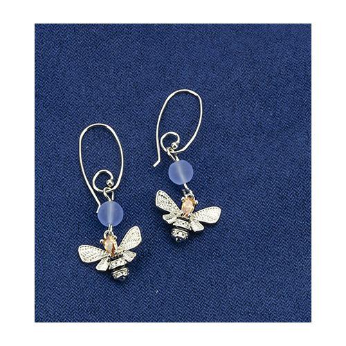 Earrings queen bee & blue beads, organza bag
