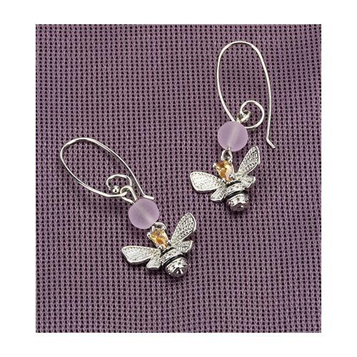 Earrings queen bee & pink beads, organza bag