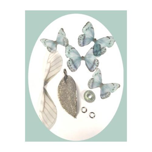 Real Leaves & Organza Butterflies Set