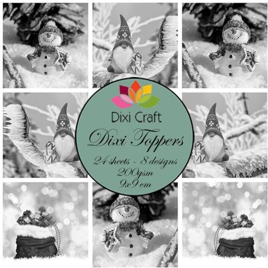 @ Mini toppers set 9x9 cm Gnome & snowman grey
