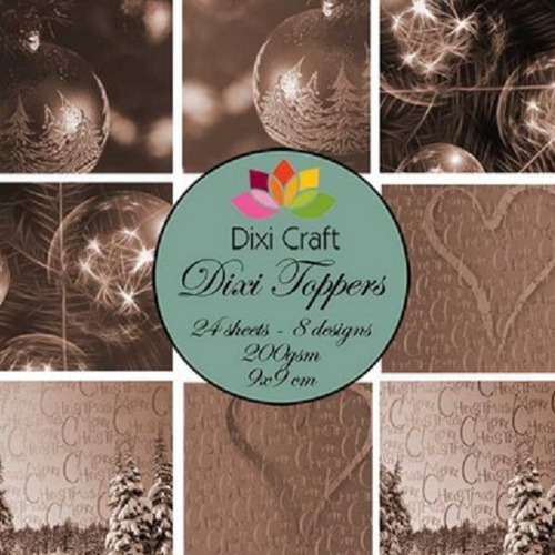 @ Mini toppers set 9x9 cm Christmas balls - sepia