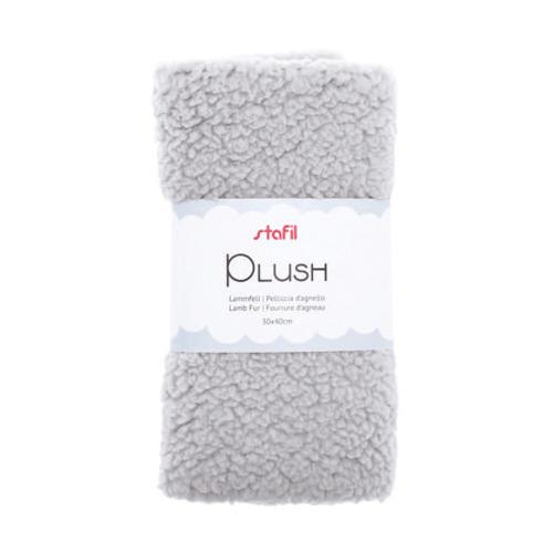 Plush, lamsvel licht grijs, 100% polyester