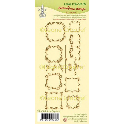 LeCrea - clear stamp combi Swirl Vierkanten 55.6364 (01-20)